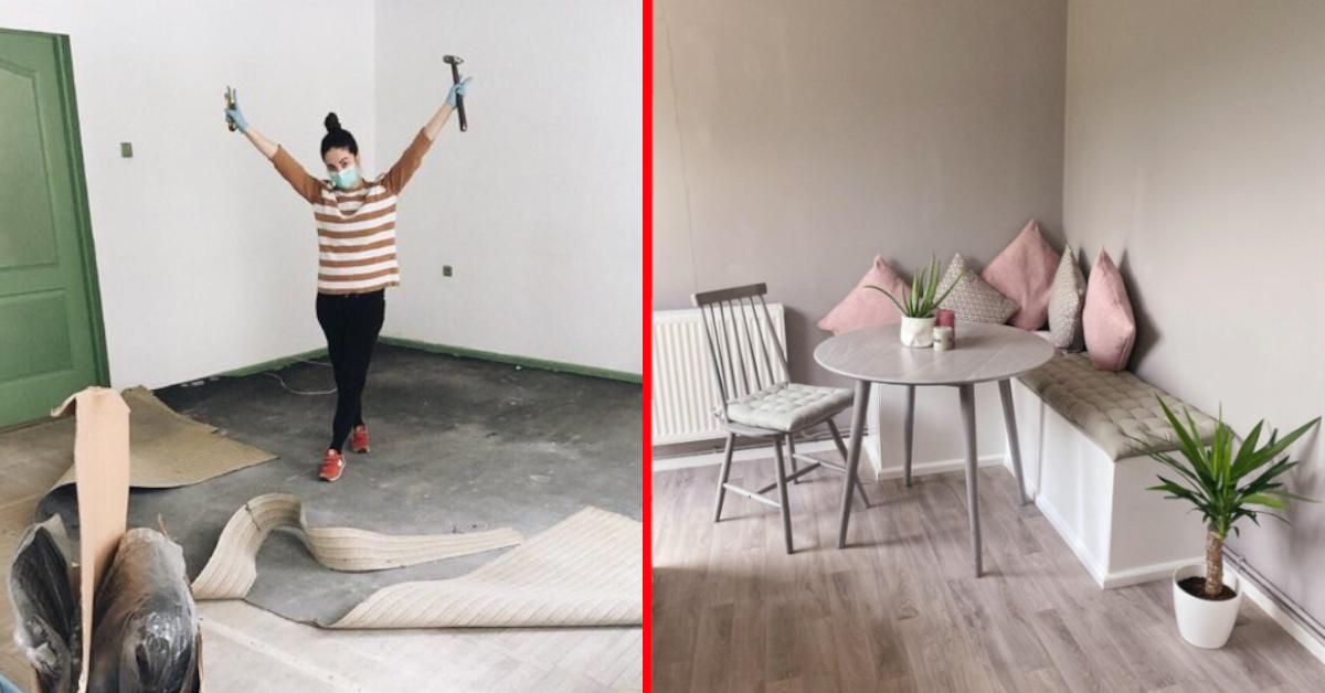 Frau freut sich auf Renovierung & Sitzecke