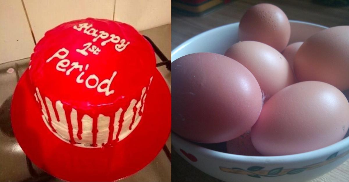 Kuchen zur ersten Periode und hart gekochte Eier